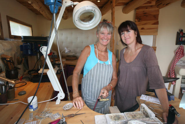 Kerstin and a friend in her workshop in Ibiza